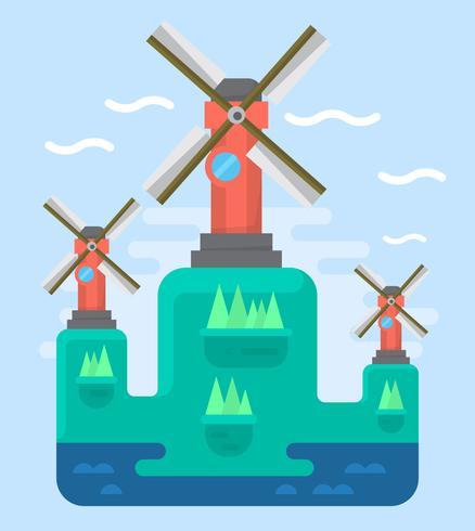 Flache Windmühlen vektor