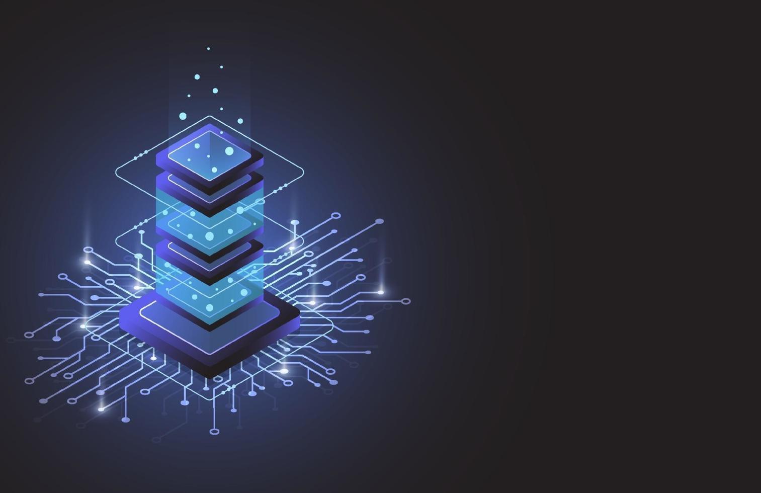 Serverraum-Isometrie, Cloud-Speicherdaten, Rechenzentrum, Big-Data-Verarbeitung und Computertechnologie. Vektorillustration vektor