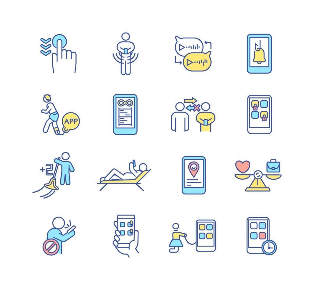 gadget missbruk rgb färg ikoner set vektor
