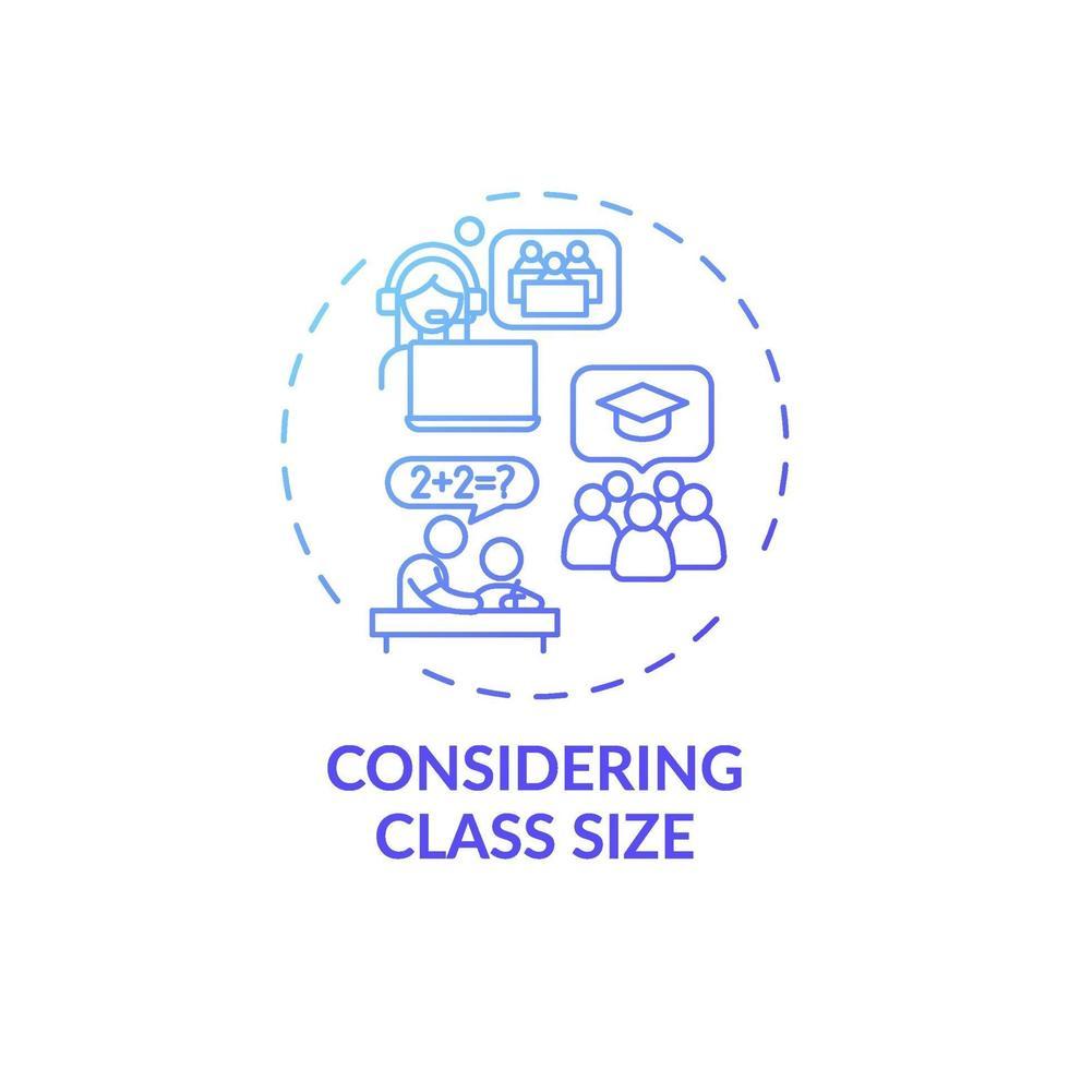 med tanke på klassstorlek konceptikon vektor