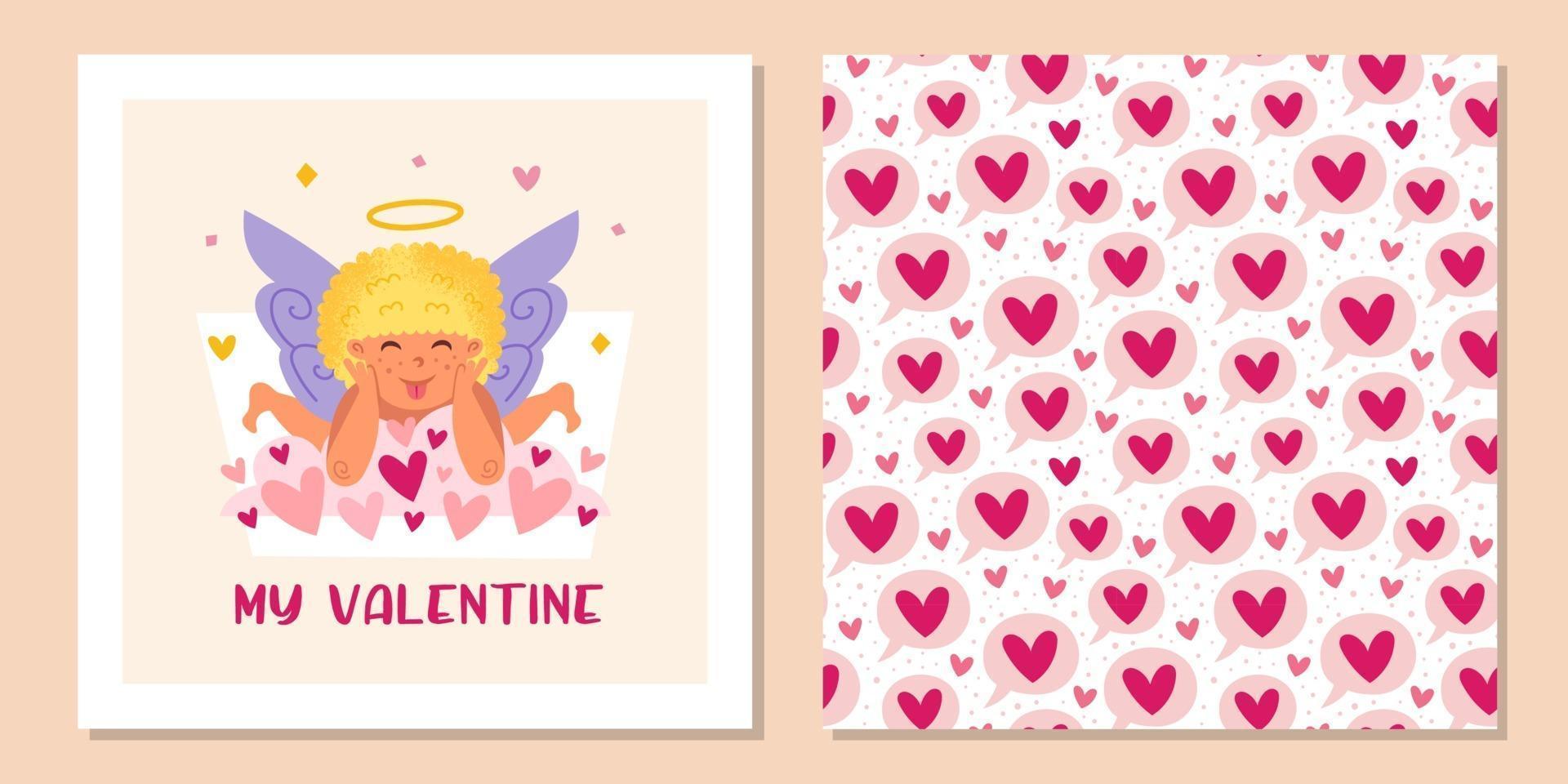 rolig amor med gloria och hjärtan. ängel, keruber, barn, pojke. St Alla hjärtans dag sömlösa mönster, konsistens, bakgrund. gratulationskort formgivningsmall. vektor