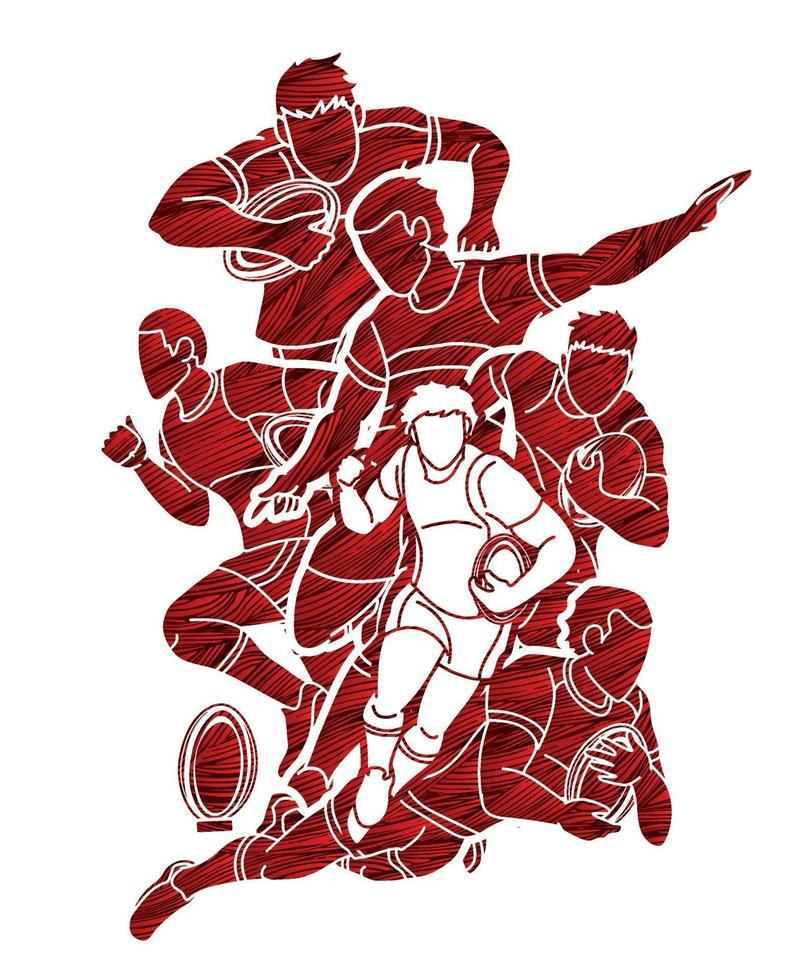 rugbyspelare action utformade med grunge borste vektor