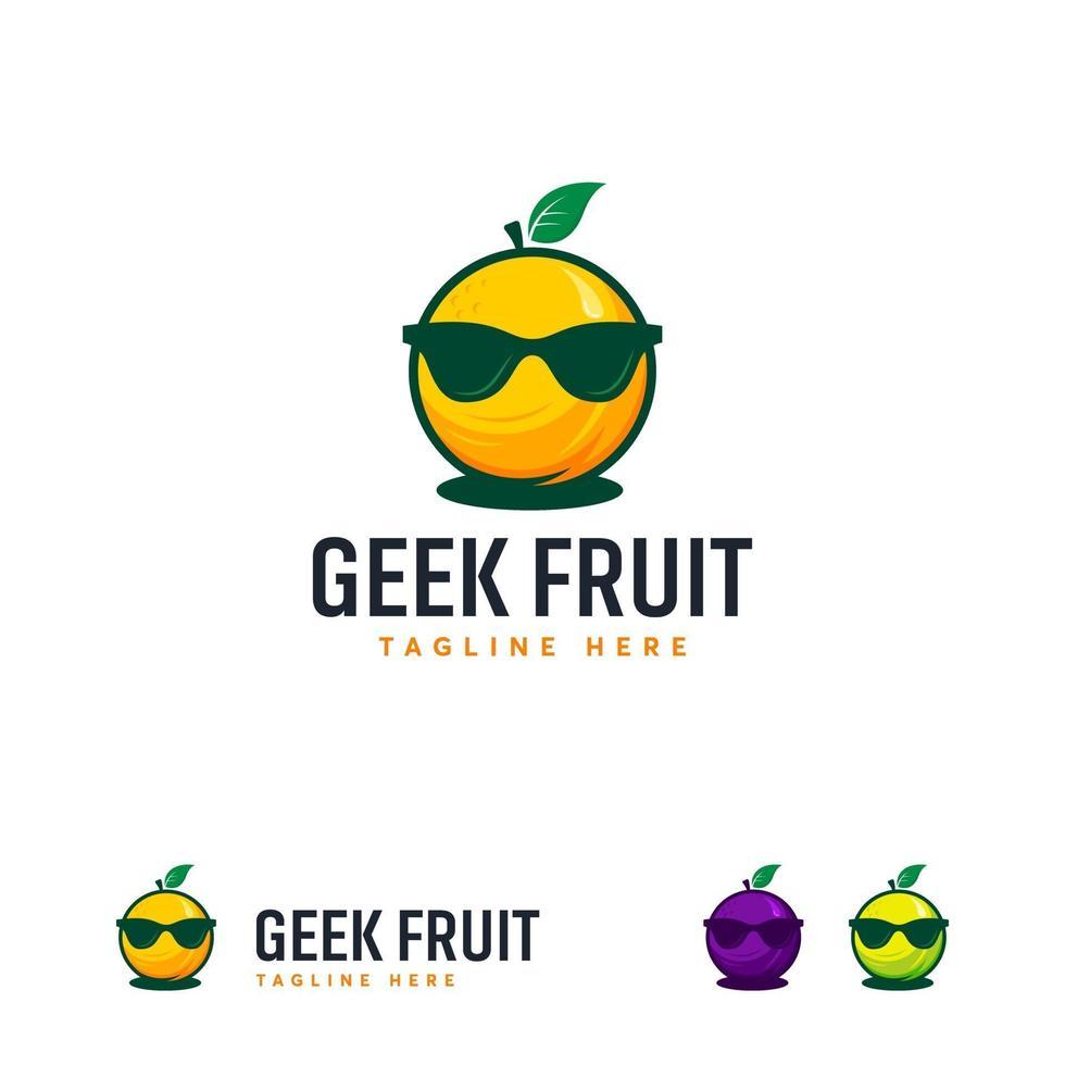 coole Geek Frucht Logo Designs Vektor, Orange Frucht Maskottchen Logo Symbol vektor