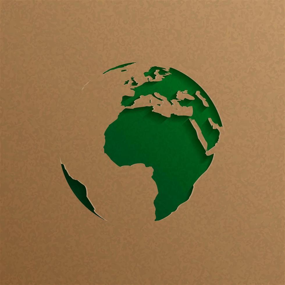 jorden världen papper konst digitala hantverk. papperskonst och ekologi miljö koncept vektor
