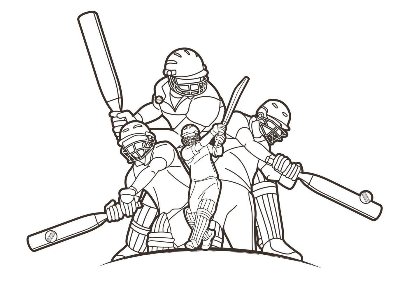 Cricket Spieler Action Gliederung vektor