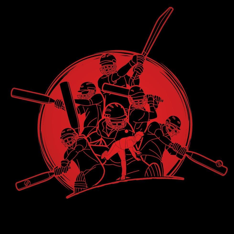 Gruppe von Cricketspielern Action-Posen vektor