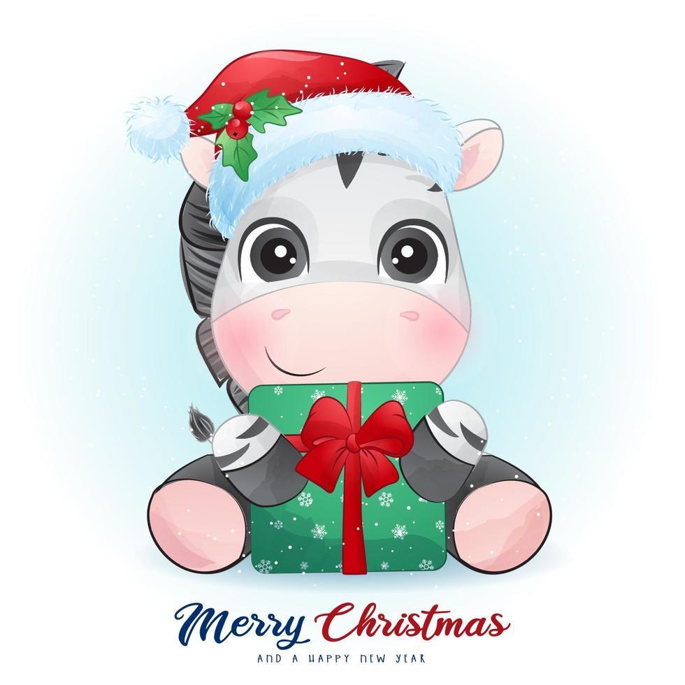 söt doodle zebra för juldagen med akvarell illustration vektor
