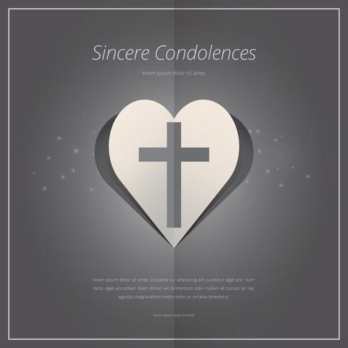 Elegant begravningskort med kryssymbol och hjärtformar. vektor