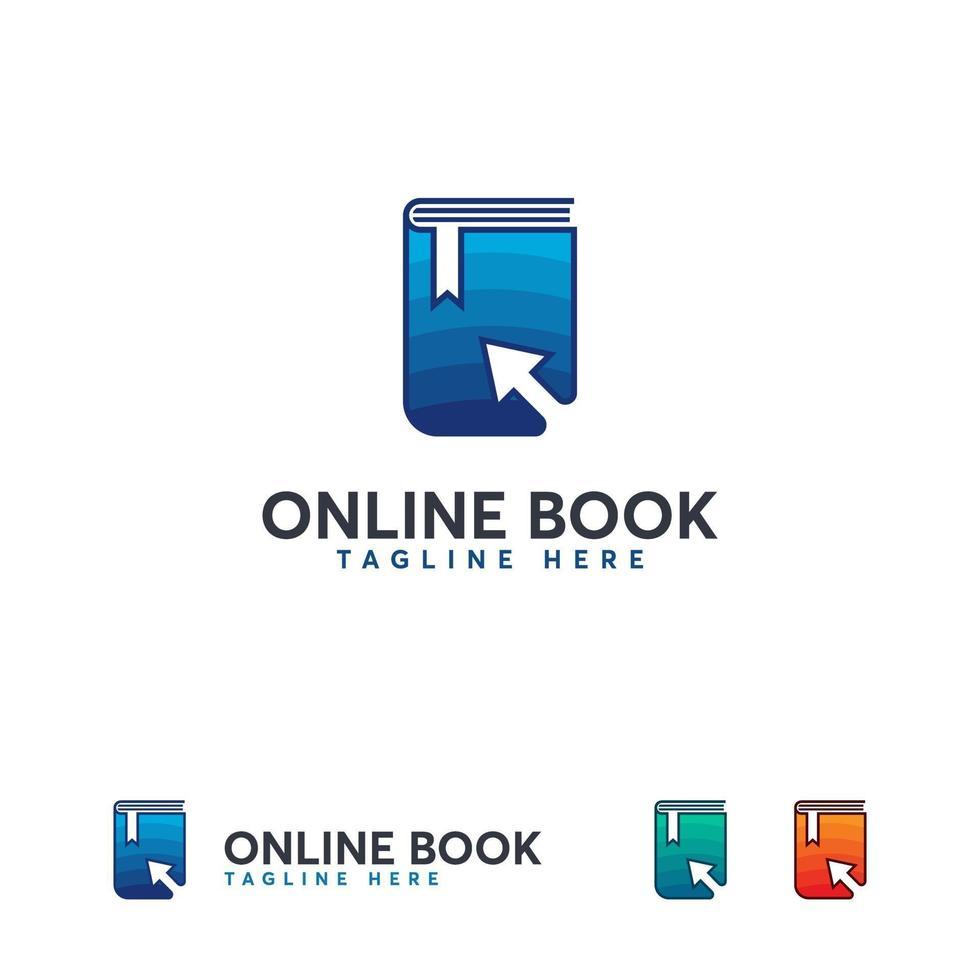 Online-Lernlogo, Online-Buchsymbol, Online-Bildungslogo-Vorlage vektor