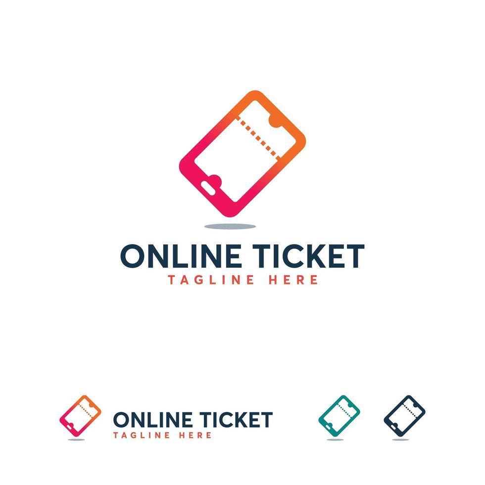Online-Ticket-Logo-Symbol, Telefon-Ticket-Logo entwirft Konzeptvektor vektor