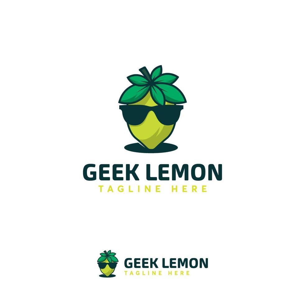 coole Geek Zitrone Logo Designs Vorlage, Zitronenfrucht Logo Designs, Limettensymbol vektor