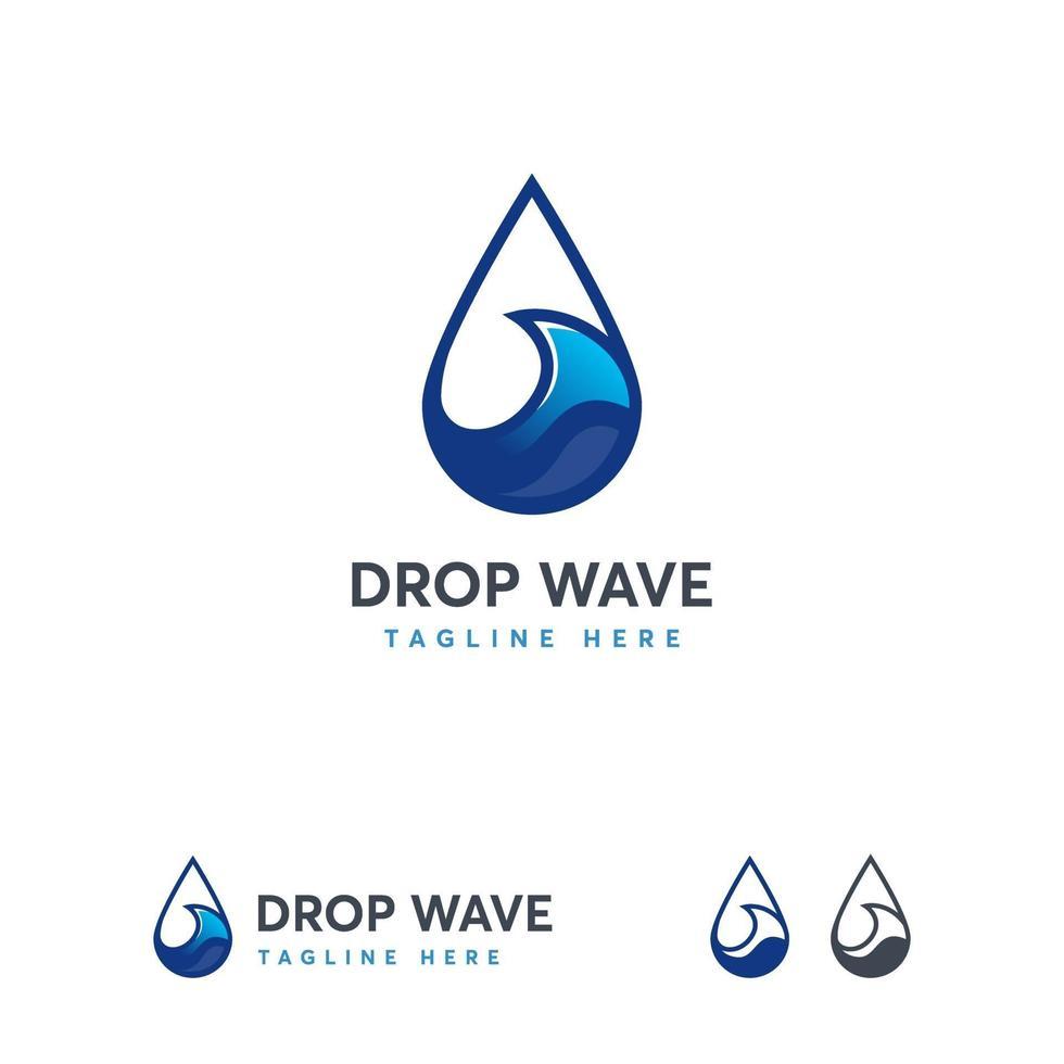 Tropfenwelle Logo entwirft Konzeptvektor, Ozeanwellenlogoschablone vektor