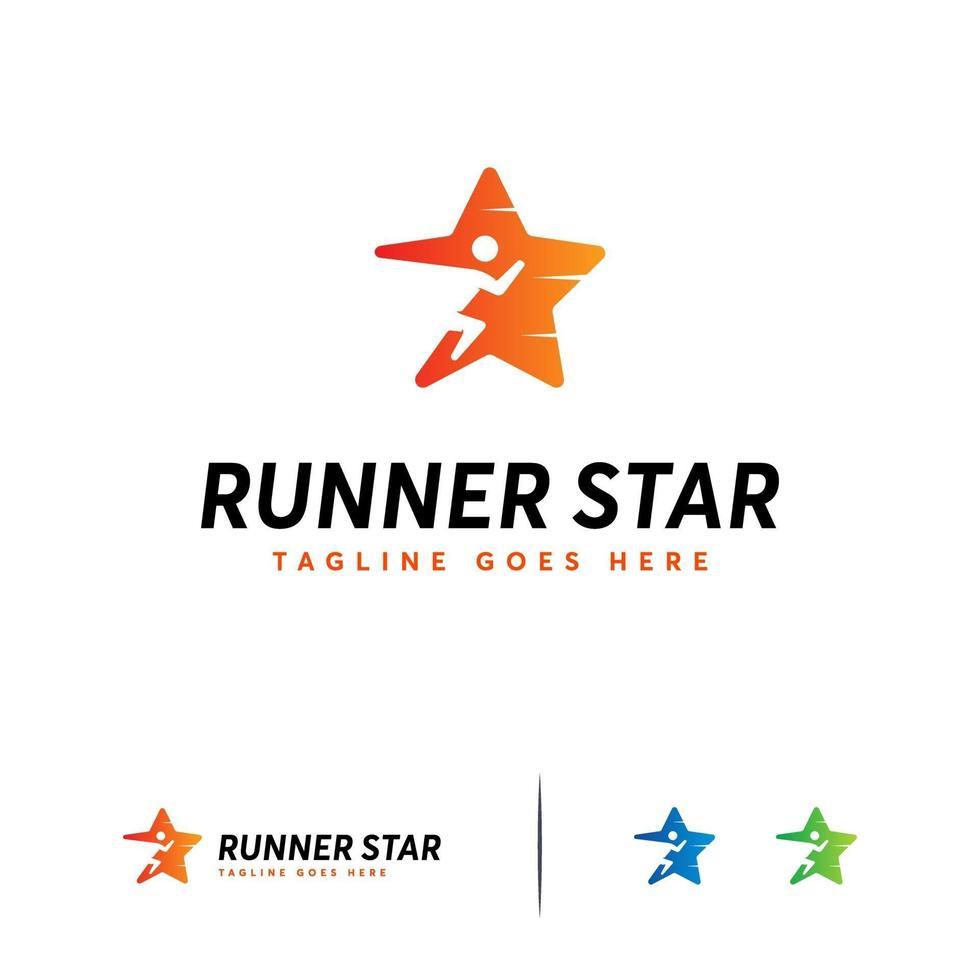 Läufer Stern Logo Designs Konzept Vektor, schnelle Läufer Logo Vorlage vektor