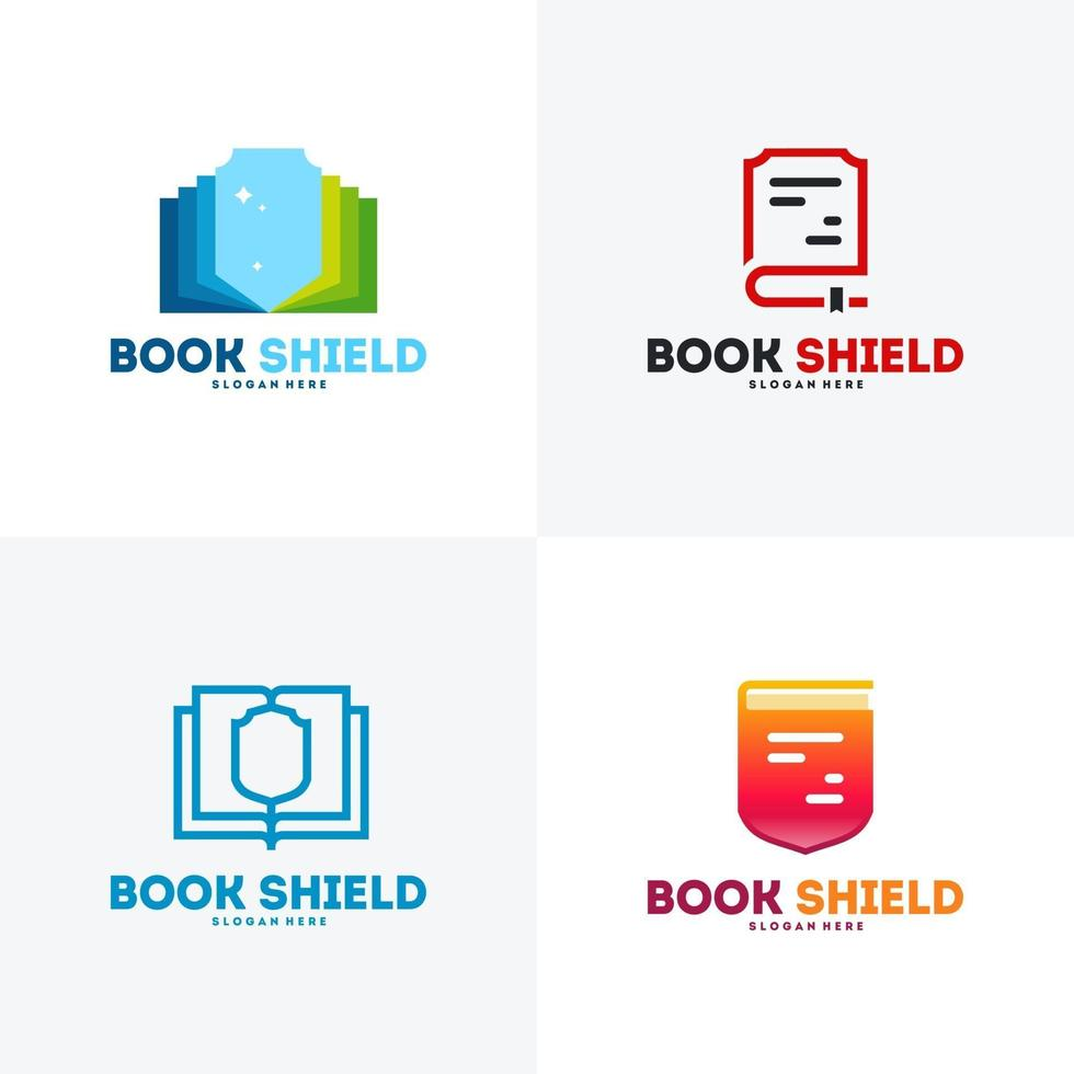 Satz Buch Schild Logo Designs Vektor, Bildung Logo Symbol vektor