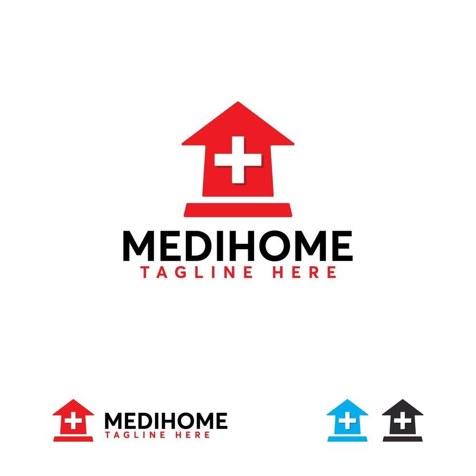 medicinska hem logotyp design koncept vektor, klinik logotyp mall vektor
