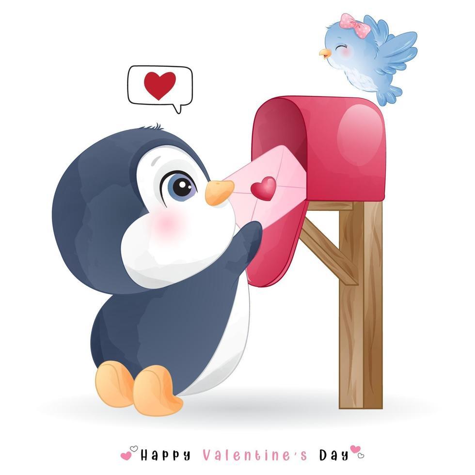 niedlicher Gekritzelpinguin für Valentinstag vektor