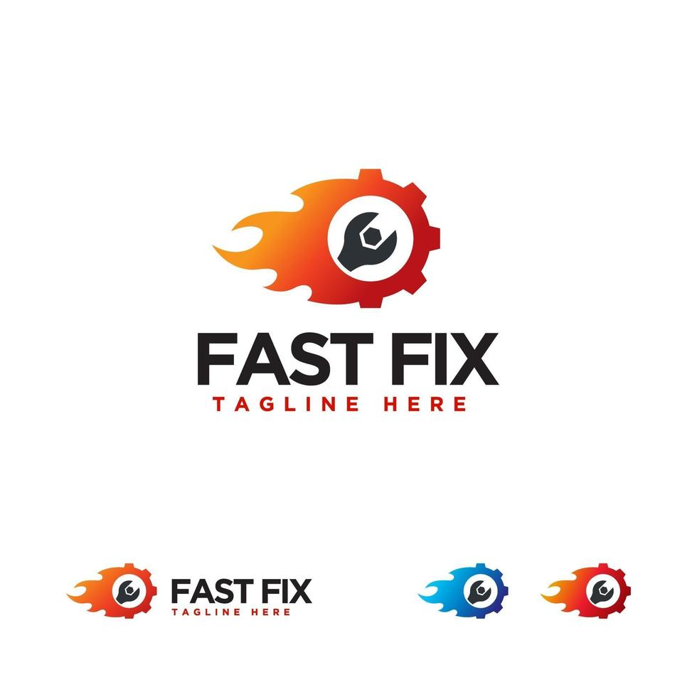 Fast Fix Logo Designs Konzept Vektor, Fire Fix Schraubenschlüssel Logo Symbol, vektor