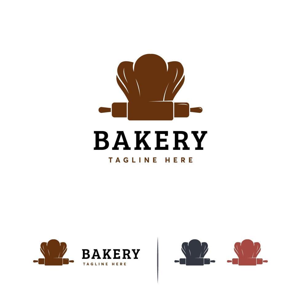 Bäckerei Logo Designs Konzept Vektor, Chef Logo Vorlage vektor