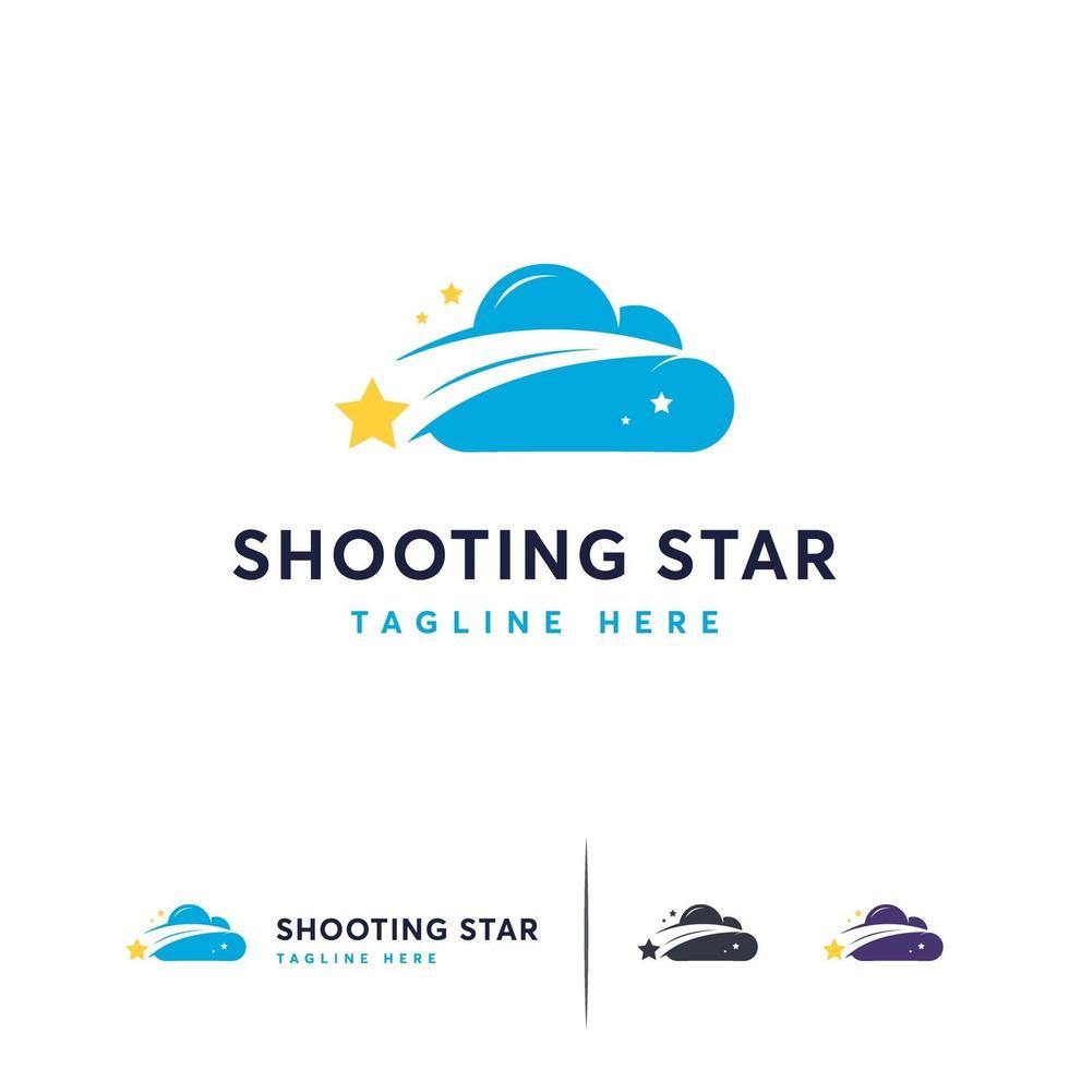 Cloud-Logo-Designs, schnelles Stern-Logo-Symbol vektor
