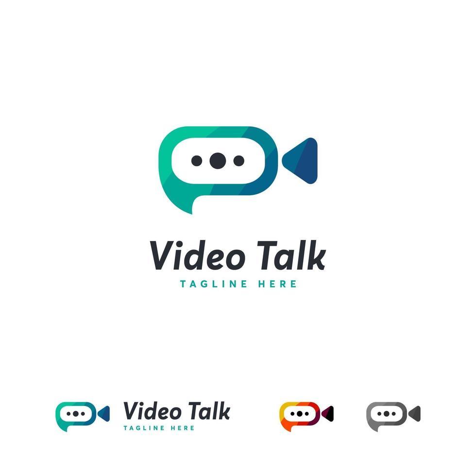 mall för video-samtalslogotyp, design för videochattlogotyp vektor