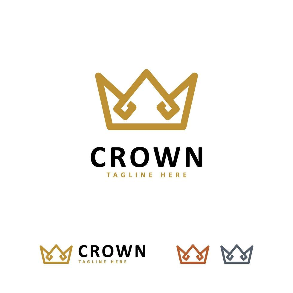 enkel elegant krona logotyp symbol koncept, kung logotyp design mall vektor