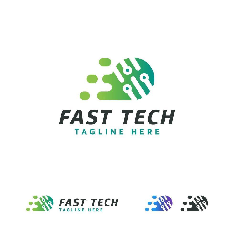 Fast Tech Logo Designs Konzept Vektor, Pixel Technologie Logo Vorlage vektor