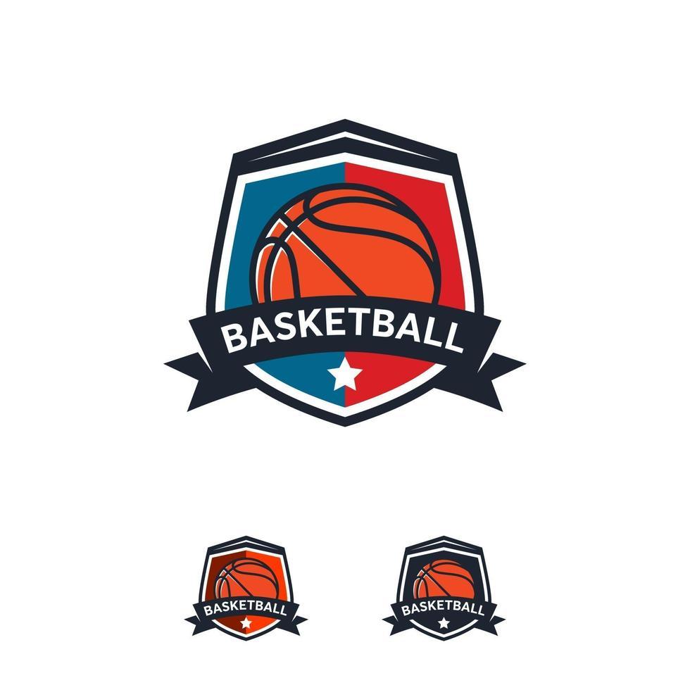 Basketball Logo Abzeichen Designs, Basketball Logo Emblem, Vektor-Vorlagen vektor