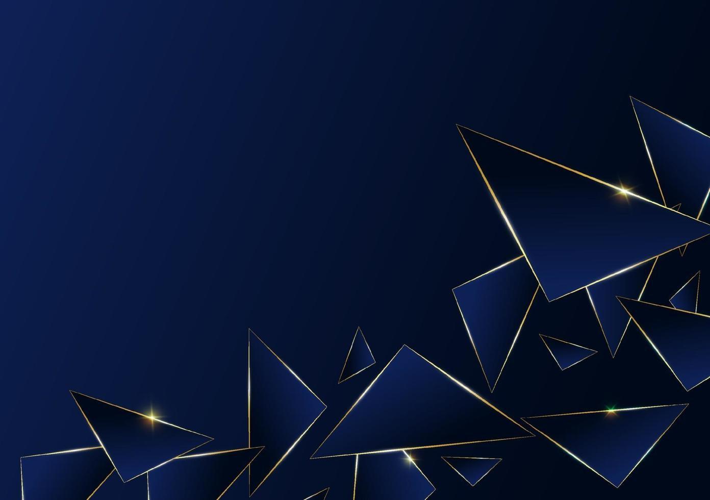 Luxus goldene Linie des abstrakten polygonalen Musters mit dunkelblauem Schablonenhintergrund. Premium-Stil für Poster, Cover, Print, Artwork. Vektorillustration vektor