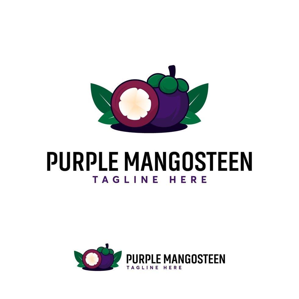 Karikatur lila Mangostanfrucht-Logo entwirft Vektor, lila Mangostanillustration vektor