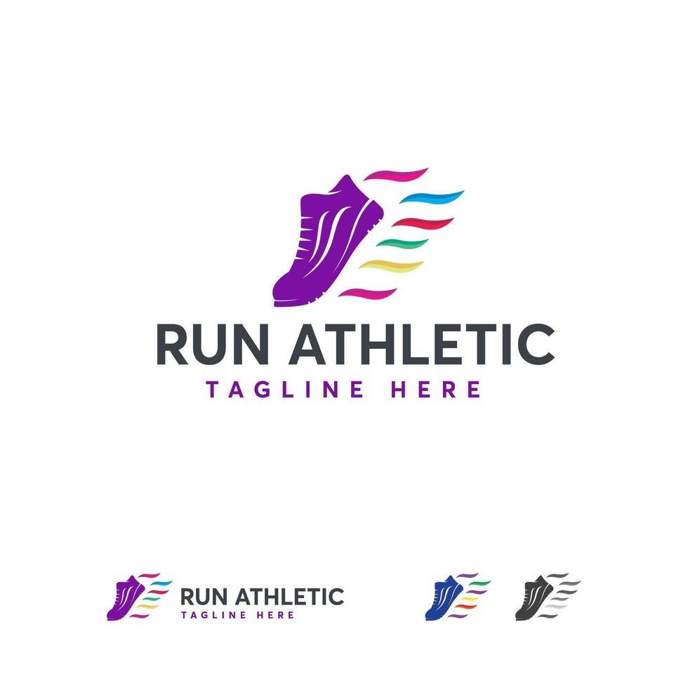 Laufen sportliche Logo-Designs Vektor, schnelle Schuhe Logo-Vorlage mit Band vektor