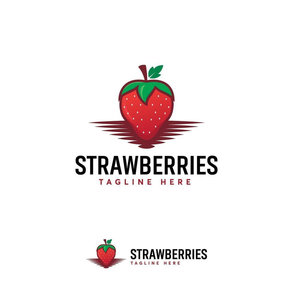 niedliche Erdbeerfruchtlogoentwürfe, Obstladenlogoschablone vektor