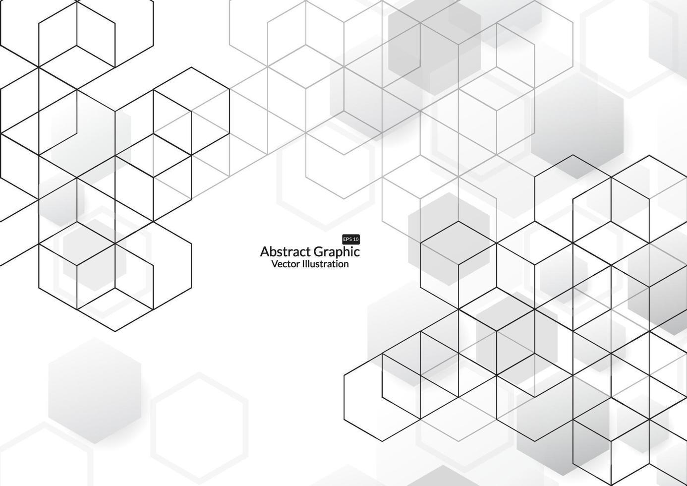 abstrakte Boxen Hintergrund. moderne Technologie mit quadratischem Netz. geometrisch auf weißem Hintergrund mit Linien. Würfelzelle. Vektorillustration vektor