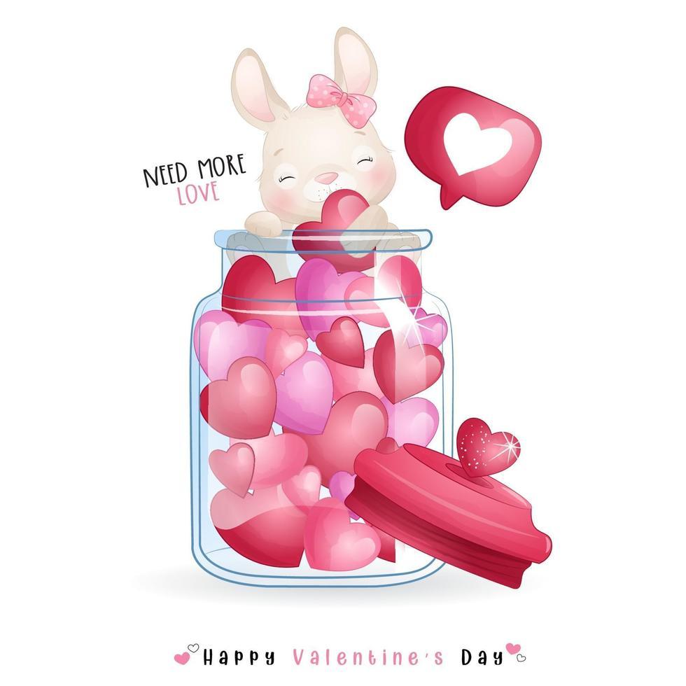 niedlicher Gekritzelhase für Valentinstag vektor