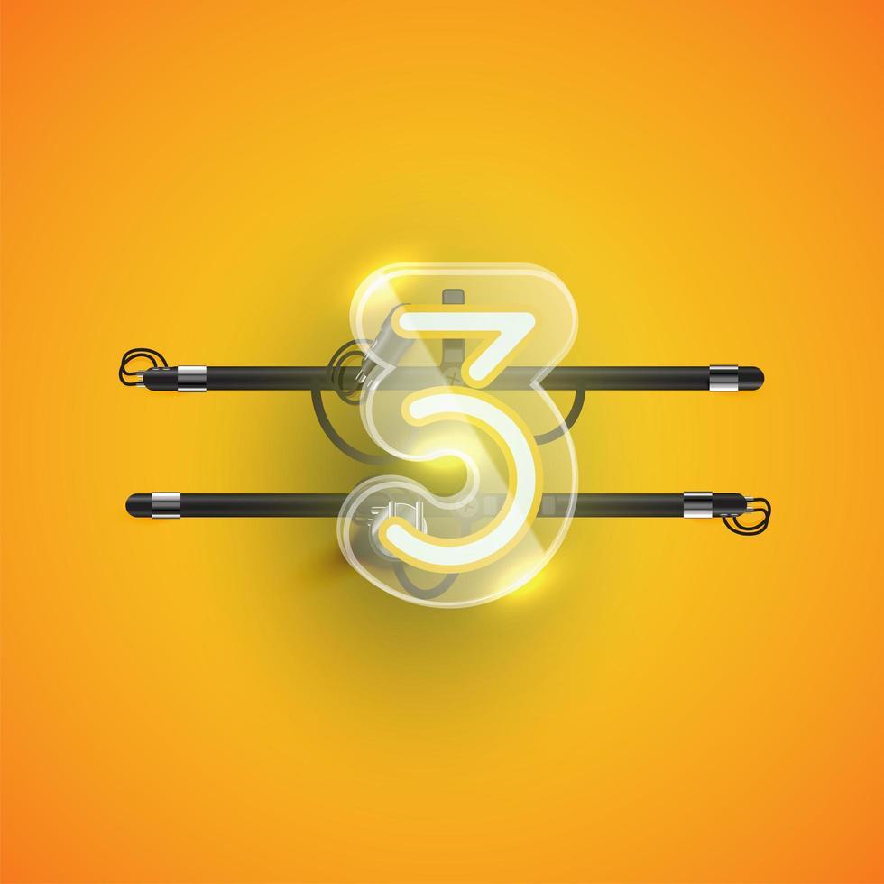 realistisk neon '3' karaktär med plastfodral runt, vektorillustration vektor
