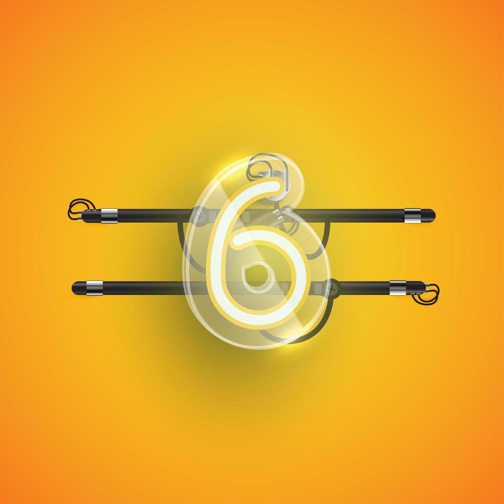 realistisk neon '6' karaktär med plastfodral runt, vektorillustration vektor