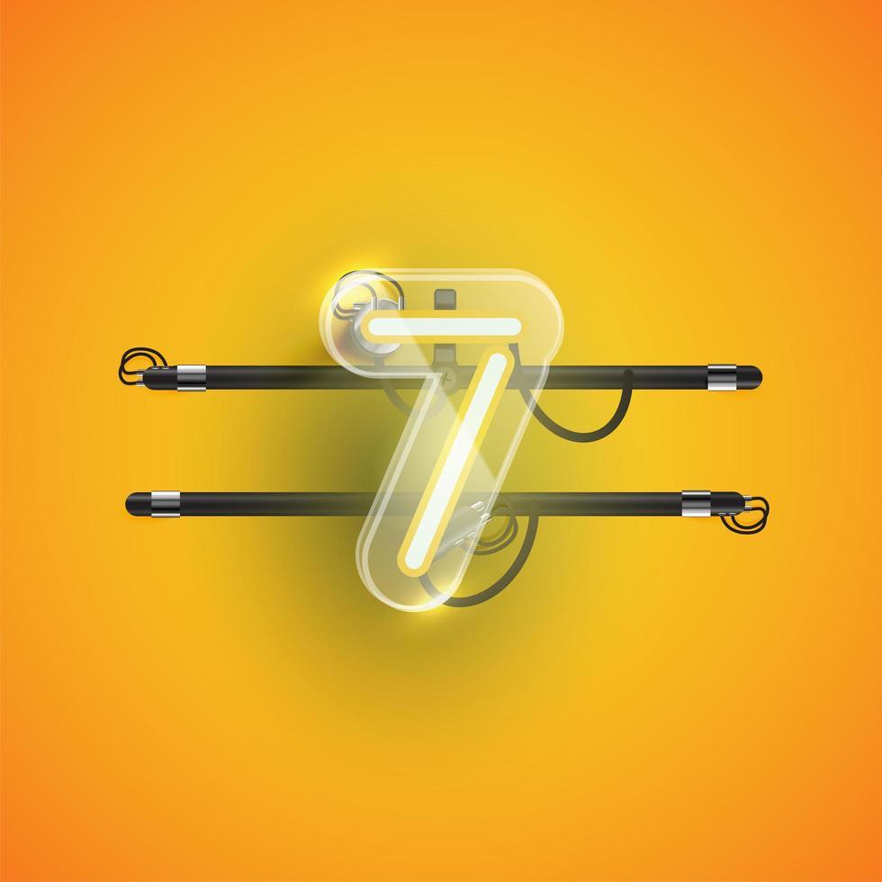 realistisk neon '7' karaktär med plastfodral runt, vektorillustration vektor