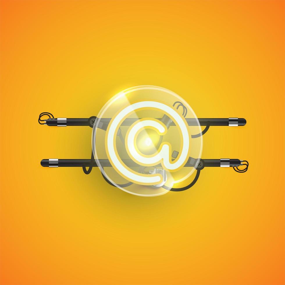 realistisk neon 'at' karaktär med plastfodral runt, vektorillustration vektor