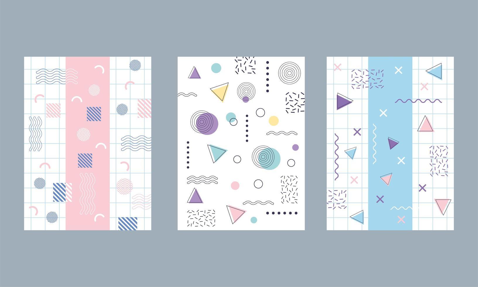 färgglada geometriska och abstrakt bakgrund set vektor