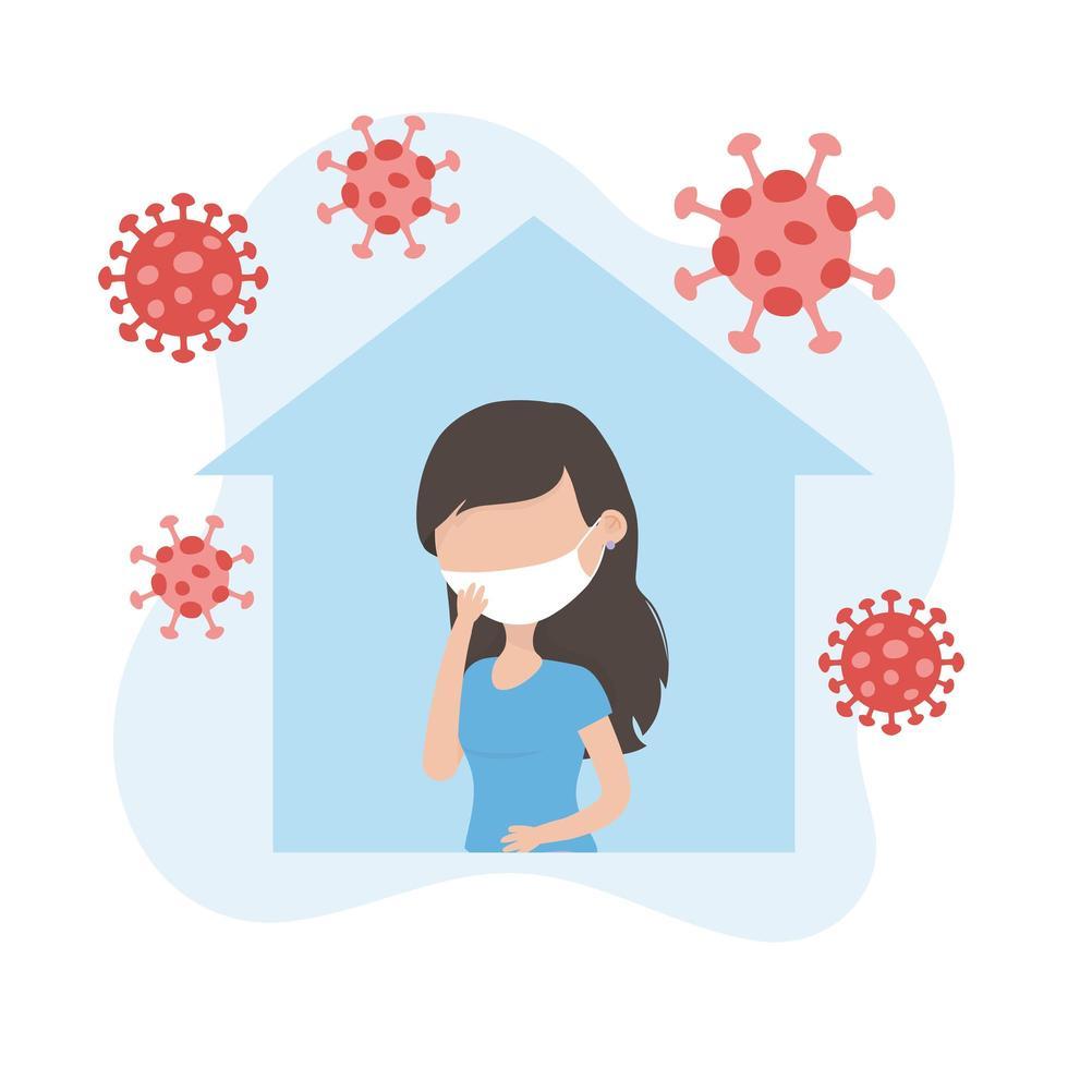 kvinna med ansiktsmask i karantän för koronavirus vektor