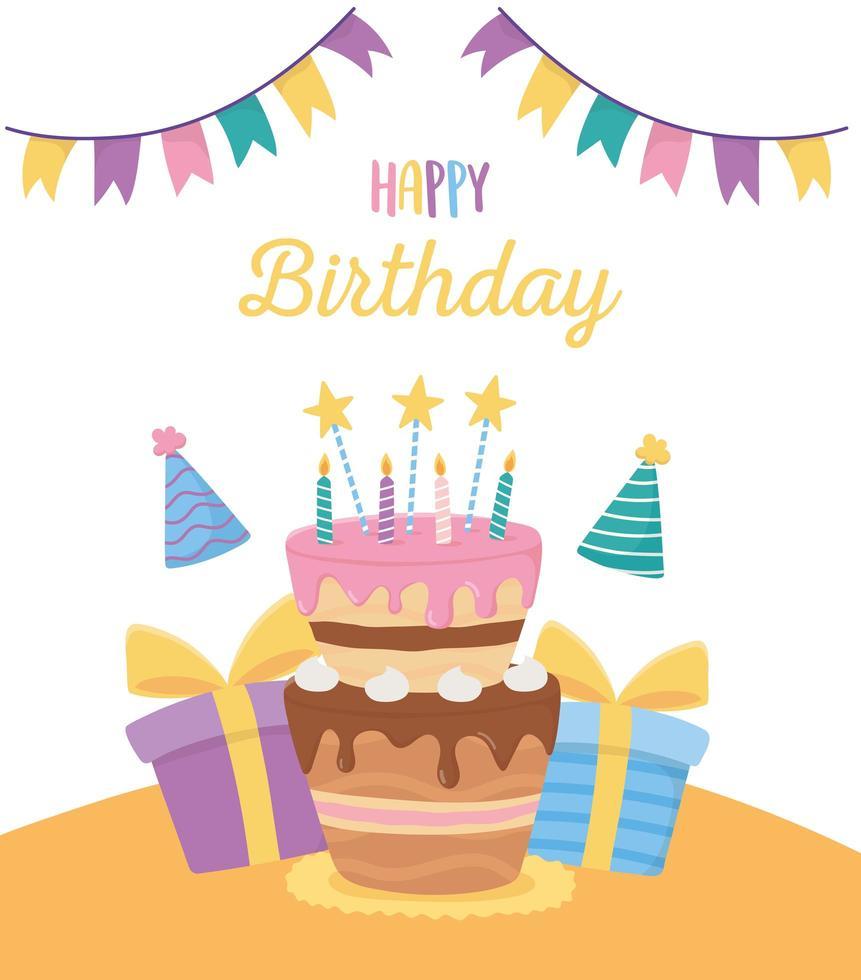 Grattis på födelsedagen firande kort vektor
