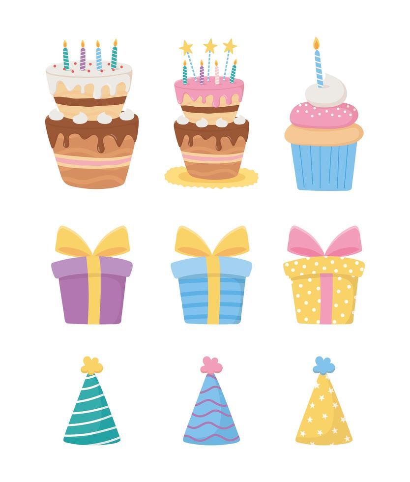 Alles Gute zum Geburtstag Icon Set vektor
