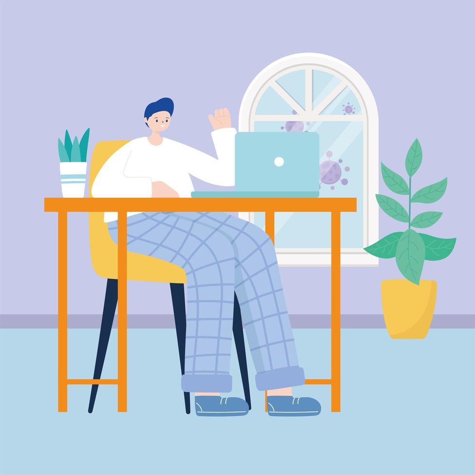 junger Mann, der zu Hause am Laptop arbeitet vektor