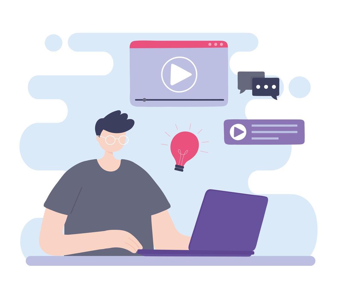 Online-Training mit Mann am Computer studieren vektor