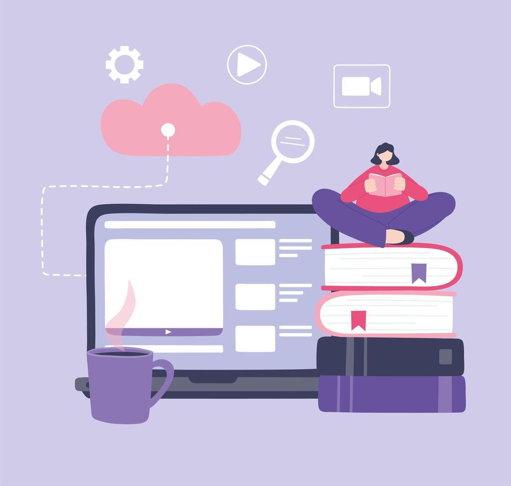 online-utbildning med laptop och flickasammanträde på böcker vektor