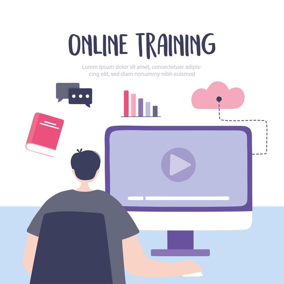 online-utbildning med mannen som tittar på en kurs vektor