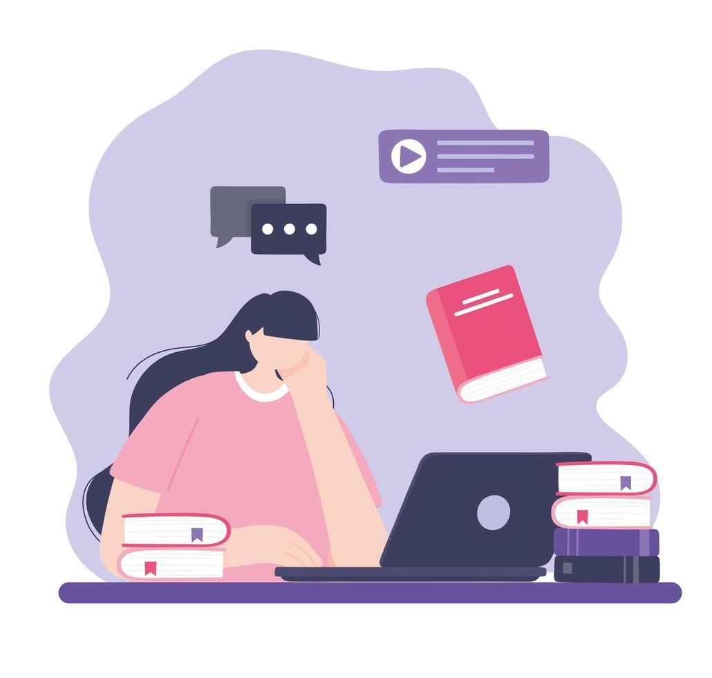 online-utbildning med kvinna på den bärbara datorn vektor
