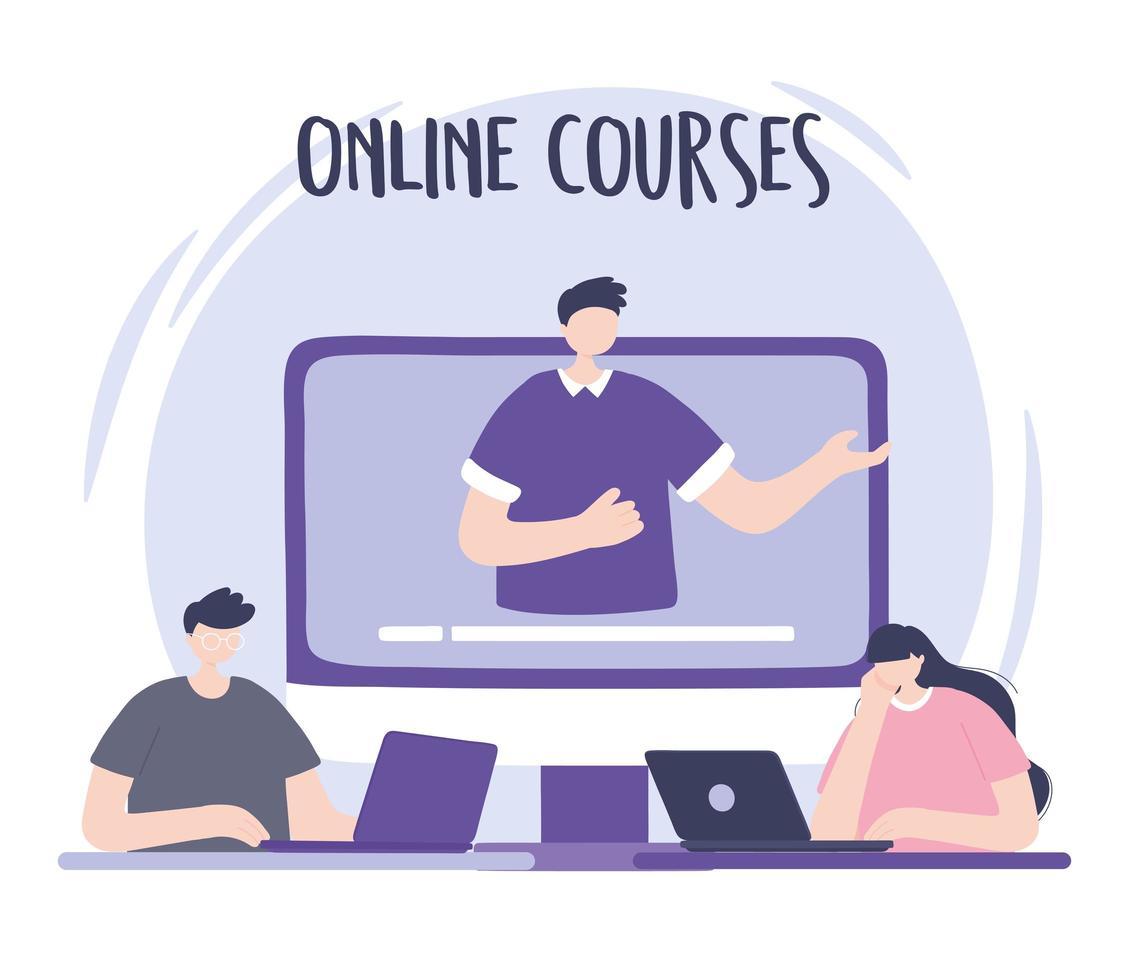 online-utbildning med mannen på en skärm vektor