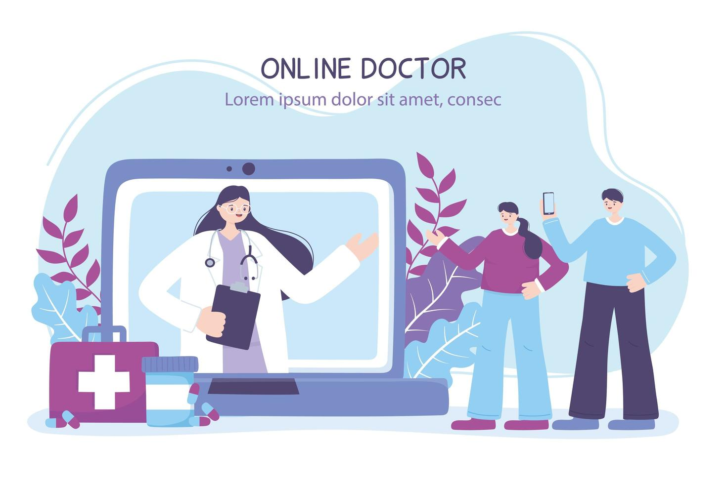 online läkarbanner med patienter och bärbar dator vektor