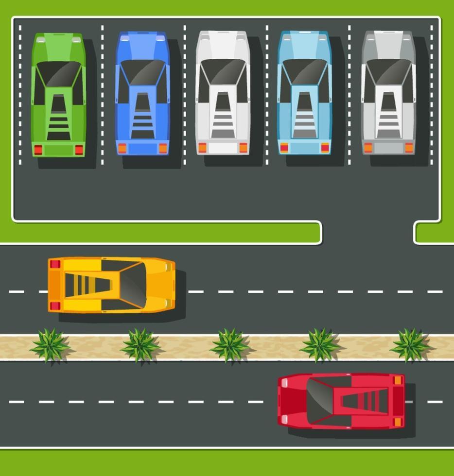 Draufsicht auf die Stadt von den Straßen, Straßen, Häusern und Autos vektor