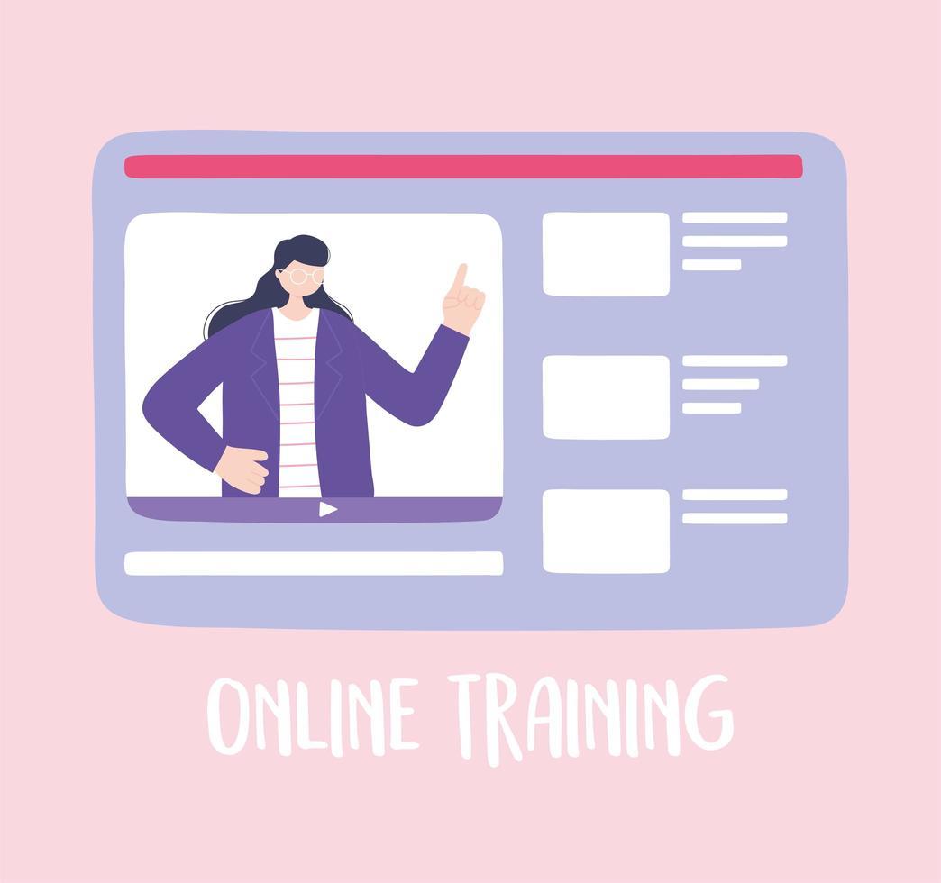 Online-Training mit Website-Seite vektor